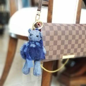 NEW fur teddy bear key or bag charm